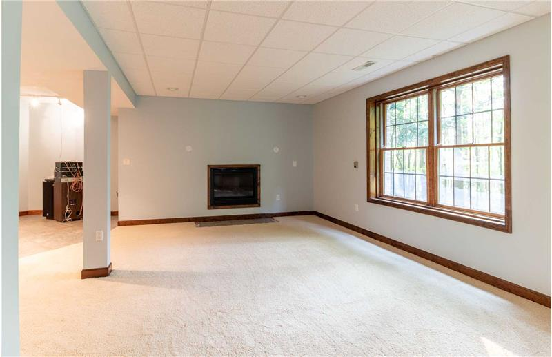 Rec room in the lower level with fireplace