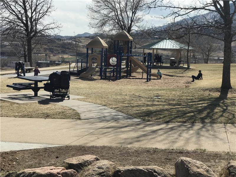 The park features a play structure, gazebo, picnic tables and benches and mountain views in every direction!