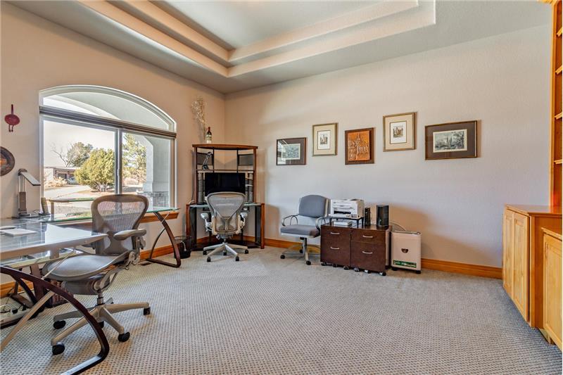 Main-floor study overlooks front yard