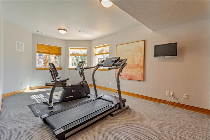 Guest bedroom #3 in basement used as workout room