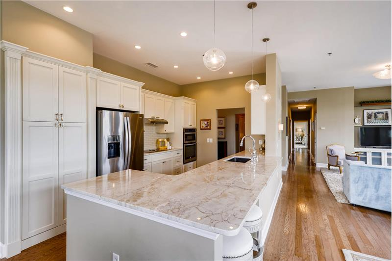 Built-in pantry with roll-out shelves, French-door fridge, island with overhang for seating.