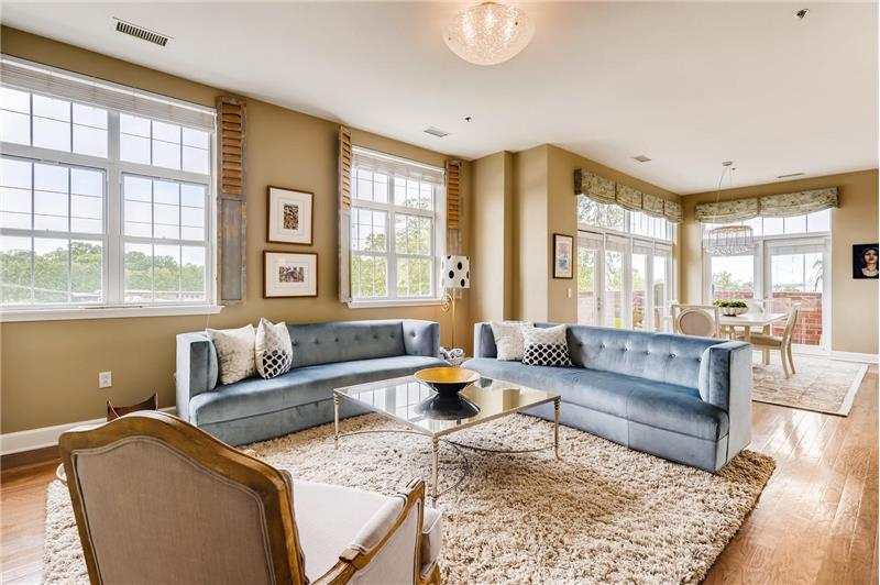 Fantastic flow for entertaining. Lots of windows and glass doors keep the living/dining area bright even on the cloudiest days.