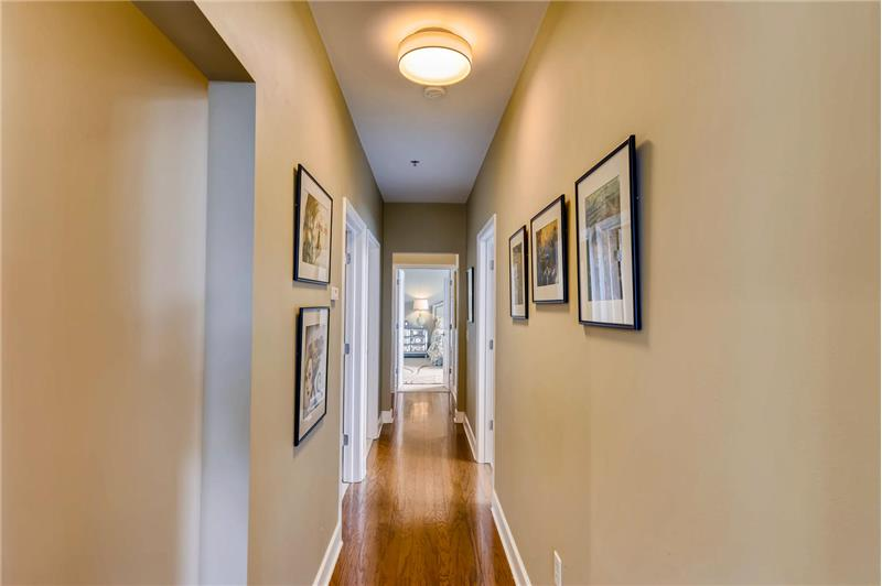 Hallway leading from the living area to the bedrooms.