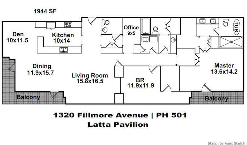 Floor plan for 1320 Fillmore Avenue PH #501.