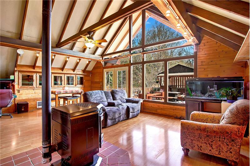 Here's the dramatic A-frame shot, showing off the exposed beams and vaulted ceiling