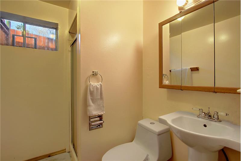 The 3/4-bath in the lower level en-suite
