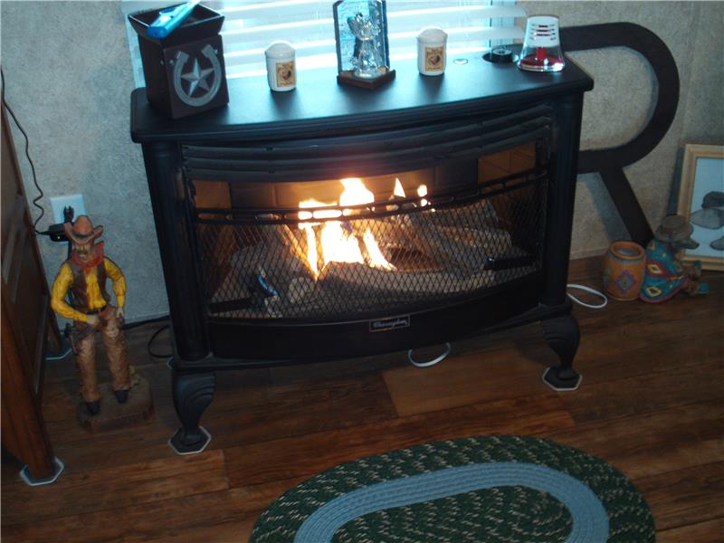 Propane Gas Heat Stove in Dining area