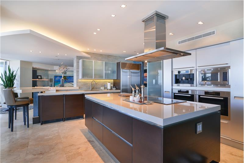 Italian Botoccino marble countertops accent this incredible kitchen for the culinary chef at heart.