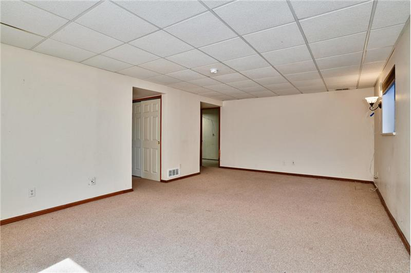 Reverse view of basement family room