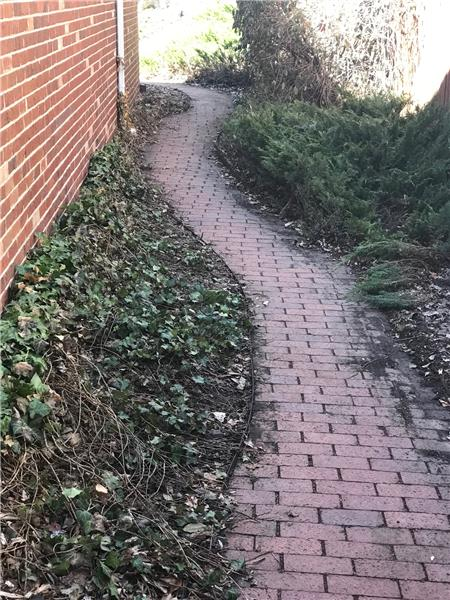 Brick pathway along north side of house