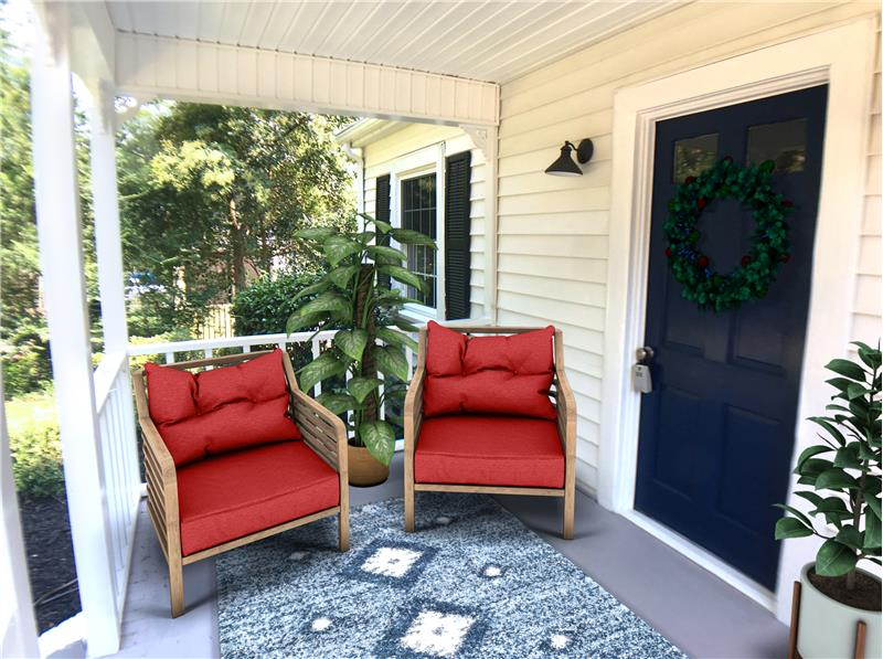 2115 Crosswind Ave, Durham, NC 27707 Front Porch Virtually Set