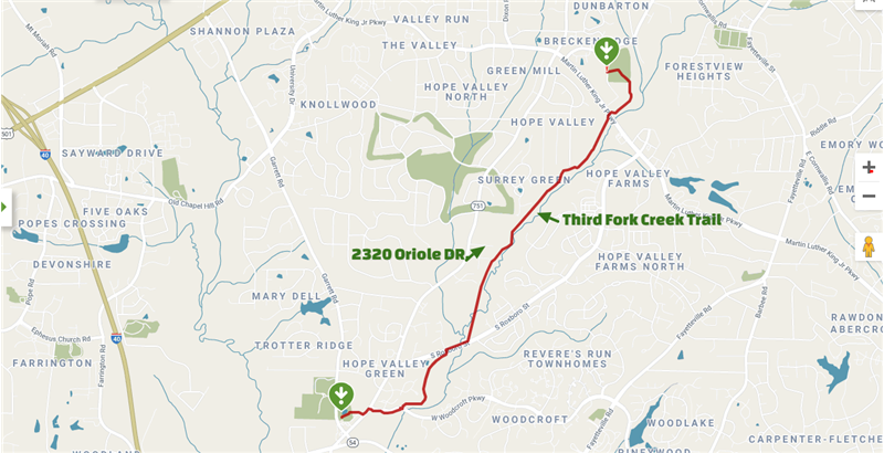This trail is being connected to other trails in Durham. What a great trail to Bike, Jog, and Dogs love it.