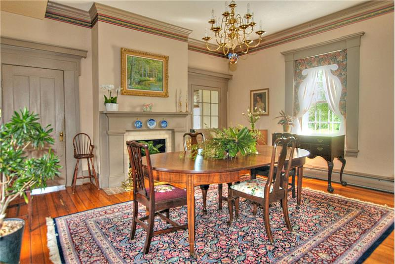 Formal dining with fireplace