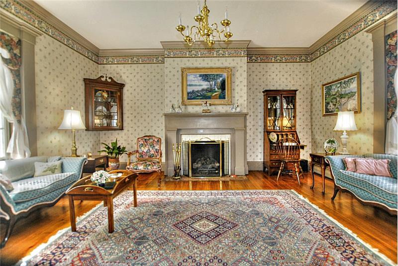 Living room. Heart pine floors throughout.