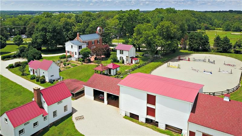 Aerial view of stable and barns