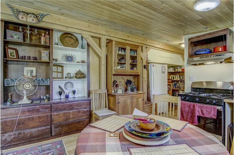 Knotty pine walls and ceilings
