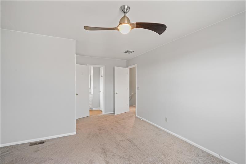 Master bedroom has direct door to full bathroom