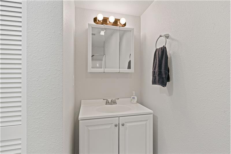 Vanity in lower level bathroom