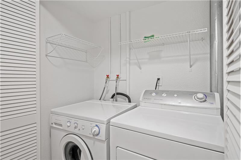 Laundry closet is in lower-level bathroom