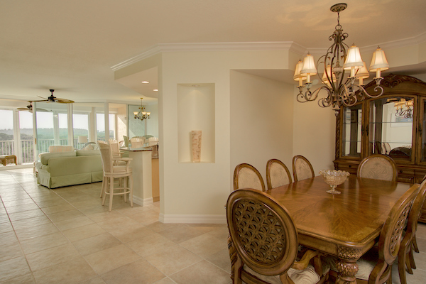 Dining room opens to living area