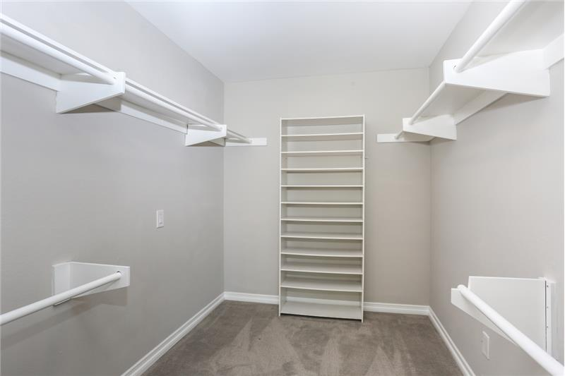 Large walk-in closet in the master bedroom.