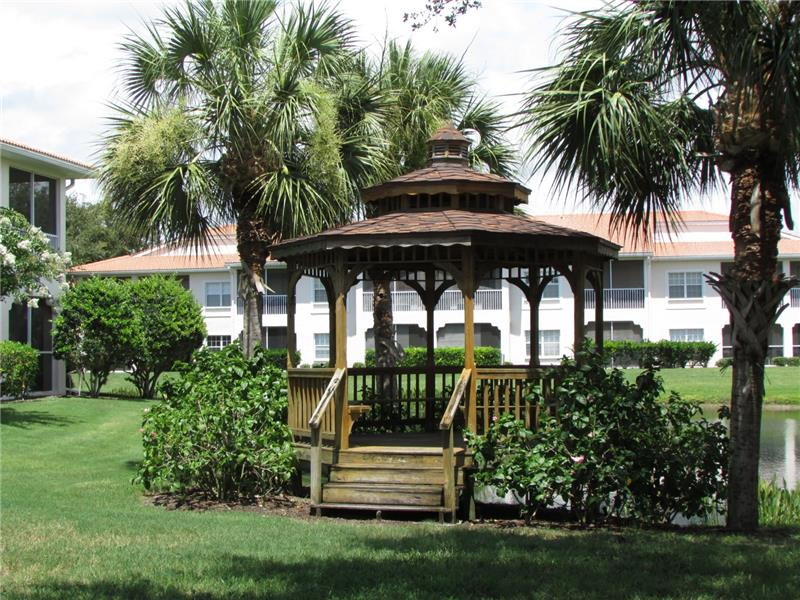 Gazebo overlooks water