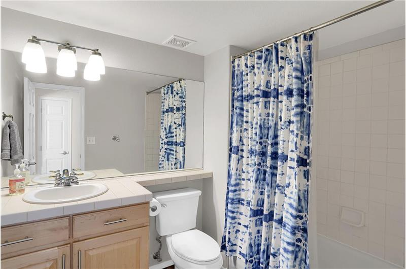 The Basement Bathroom features a vanity sink and tiled tub/shower