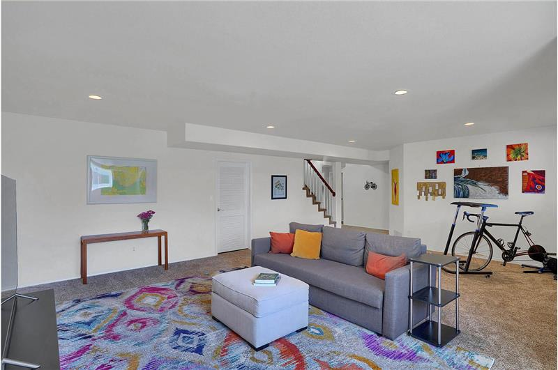 Huge Basement Family Room with recessed lights and neutral carpet