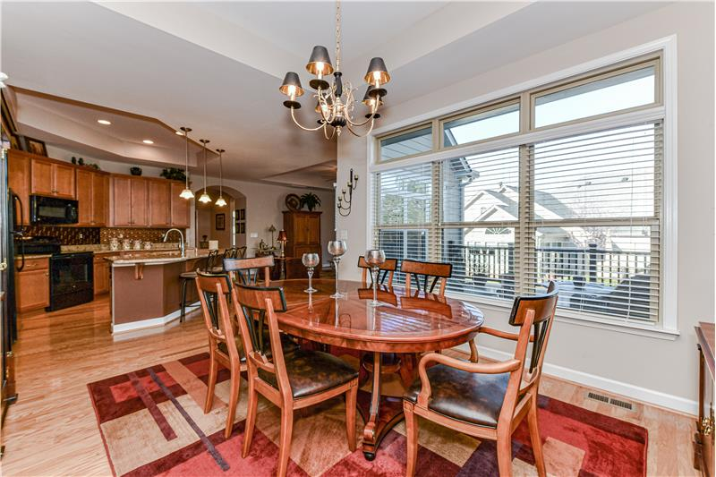 Open sight lines to the kitchen; trey ceiling; decorative chandelier. Plenty of room for a larger table.