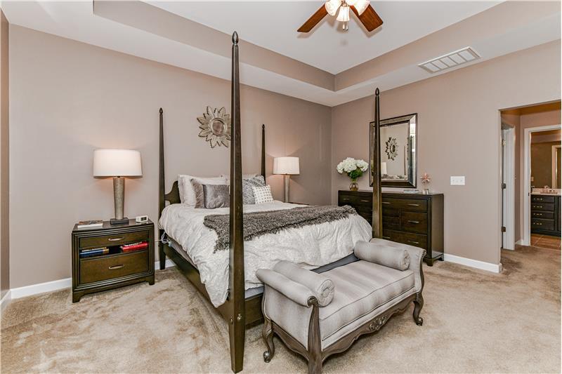 Master bedroom has plenty of room for a king size bed and larger dresser and bedside tables.