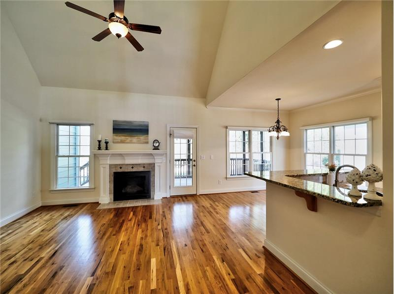 Vaulted Family Room with gas fireplace