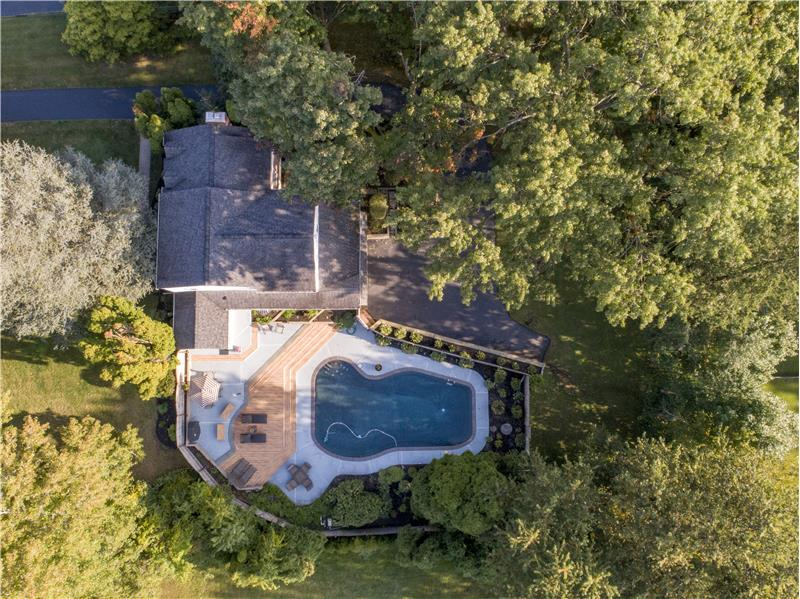 528 General Scott Road Aerial View of Pool