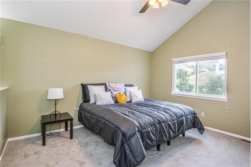 Master bedroom with vaulted ceiling, mountain view