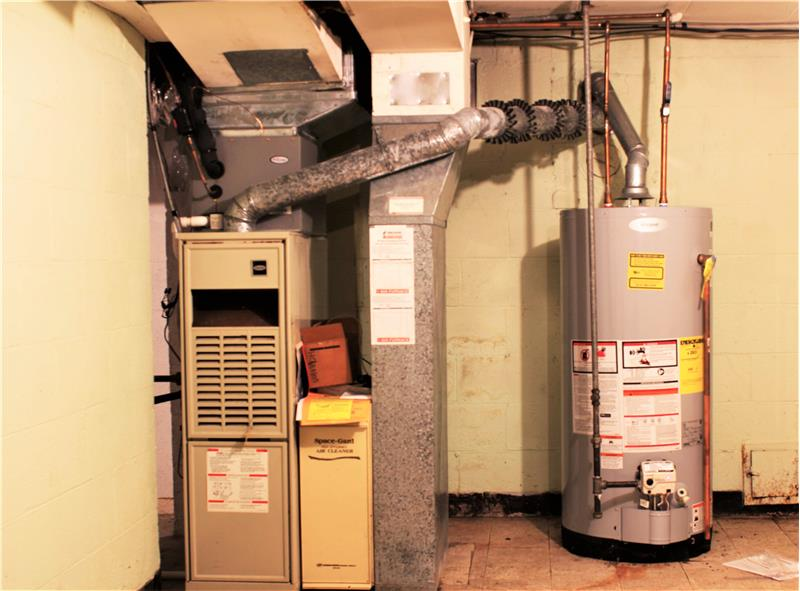 Furnace, air conditioning unit, and water heater.