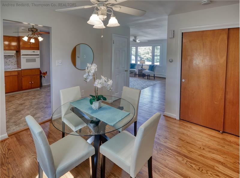 Warm and inviting living/dining/kitchen areas..