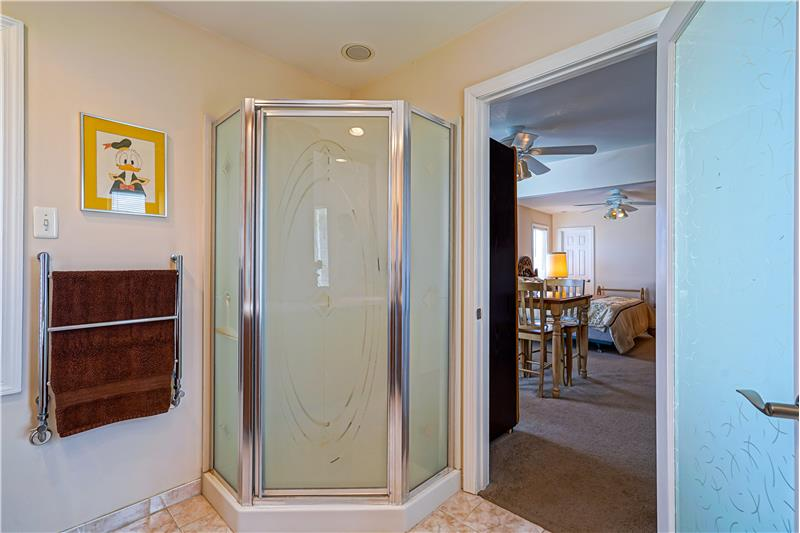 Master Walk-in Shower, heated Towel Bar