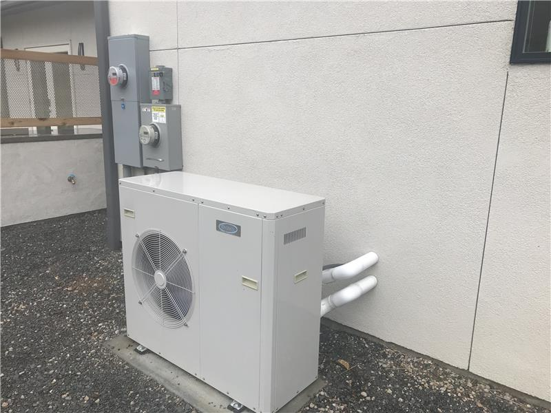 This heat pump provides the hot water for radiant floor heating.