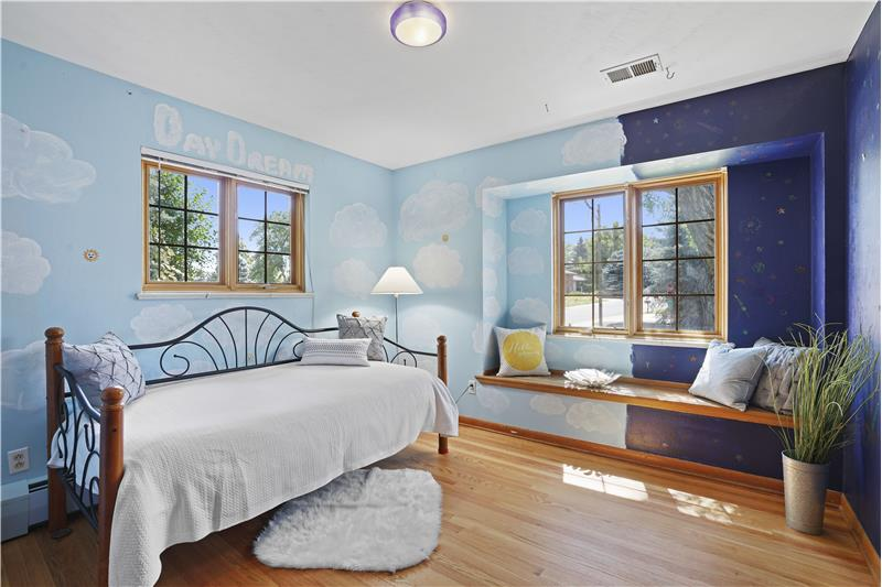 Seller's daughter painted her bedroom in a playful day/night theme. Seller will repaint prior to closing.