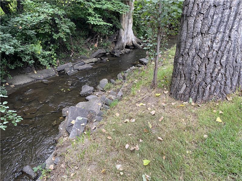 Lakewood Gulch stream runs through the backyard, well below the home. No flood risk!