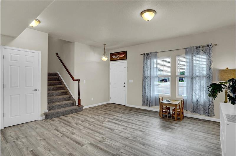 The entry has an attractive light fixture and leads into a spacious Living Room and stairs to the upper level