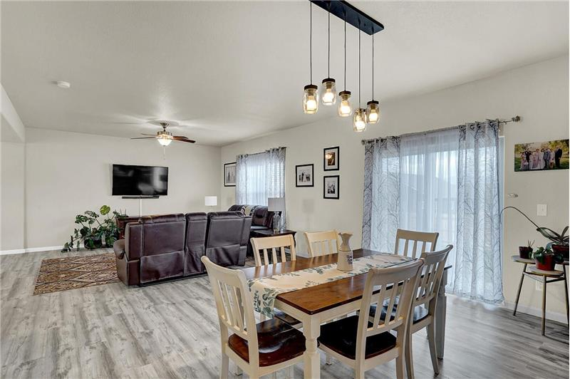 The Dining Area flows into the Family Room