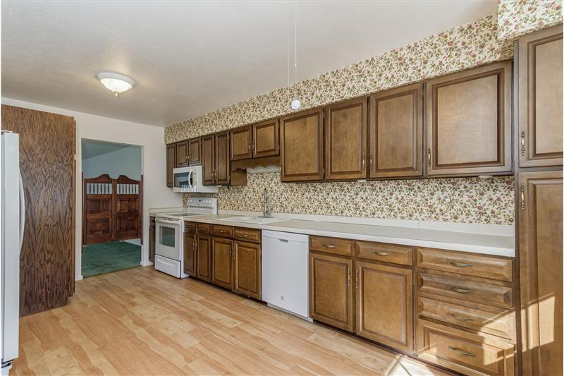 Spacious kitchen has two pantry cabinets
