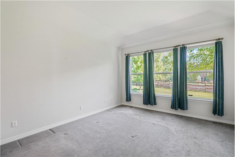 Master bedroom has 10-foot tray ceiling and overlooks the backyard