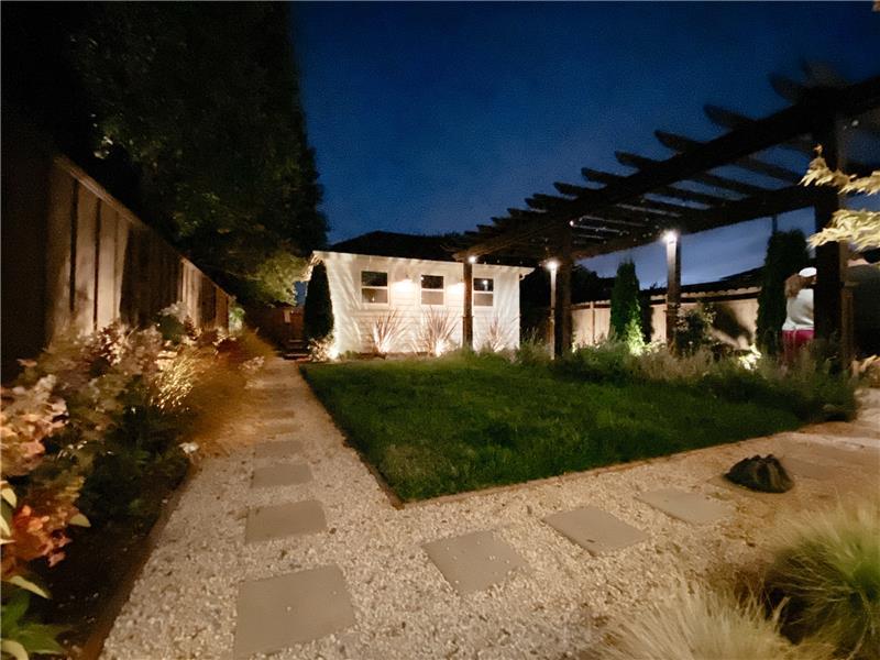 Night Lighting in Backyard