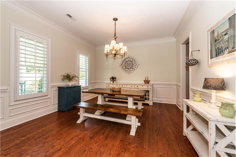 Spacious dining room can easily accommodate a large table for big gatherings.