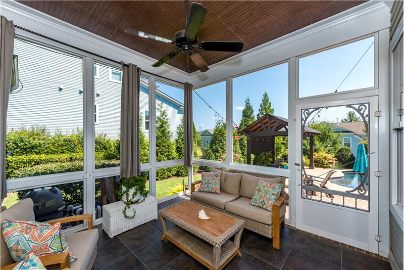 Screened porch overlooking the back yard.