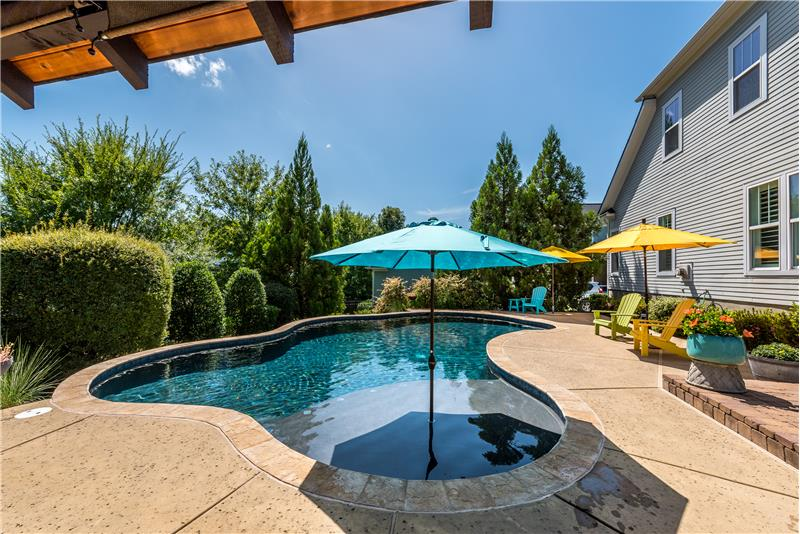 Gorgeous, in-ground pool makes this yard a perfect outdoor oasis.