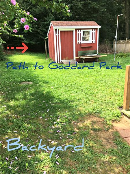 Back shed & your own path to Goddard Park & ocean