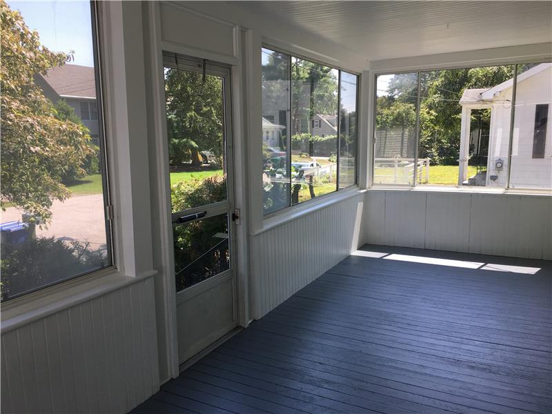 Front Porch newly painted with screens & glass
