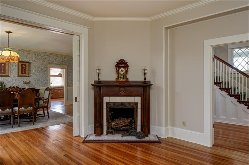Cozy corner wood-burning fireplace in the living room